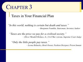 Taxes in Your Financial Plan