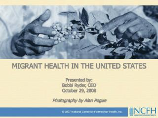 MIGRANT HEALTH IN THE UNITED STATES Presented by: Bobbi Ryder, CEO October 29, 2008