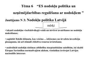 """Tēma  6 """"ES nodokļu politika un uzņēmējdarbības regulēšana ar nodokļiem """""""