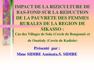 IMPACT DE LA RIZICULTURE DE BAS-FOND SUR LA REDUCTION DE LA PAUVRETE DES FEMMES RURALES DE LA REGION DE SIKASSO :  Cas d