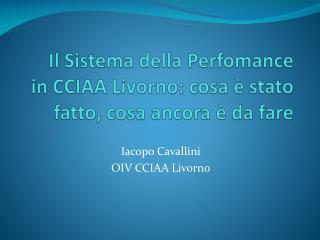 Il Sistema della  Perfomance  in CCIAA Livorno: cosa  è s tato  fatto, cosa ancora  è d a  fare
