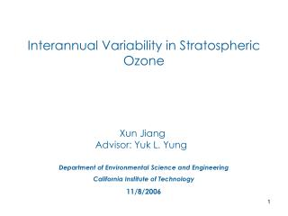 Interannual Variability in Stratospheric Ozone