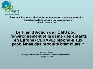 Forum «Reach»: Nos enfants en contact avec les produits chimiques dangereux: jusqu'à quand?