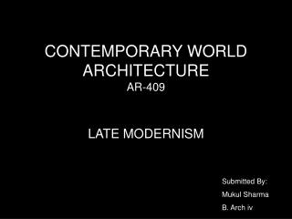 CONTEMPORARY WORLD ARCHITECTURE  AR-409