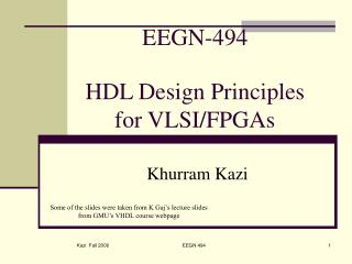 EEGN-494 HDL Design Principles for VLSI/FPGAs