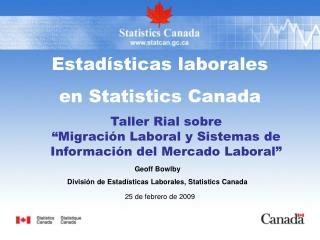 Estadísticas laborales  en Statistics Canada