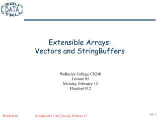 Extensible Arrays: Vectors and StringBuffers
