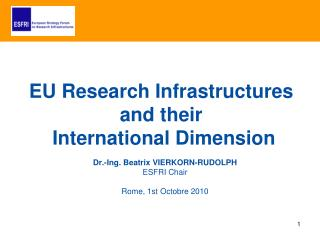 Dr.-Ing. Beatrix VIERKORN-RUDOLPH ESFRI Chair Rome, 1st Octobre 2010