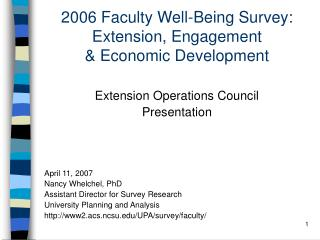 2006 Faculty Well-Being Survey: Extension, Engagement  & Economic Development