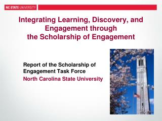 Integrating Learning, Discovery, and Engagement through  the Scholarship of Engagement