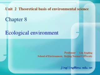 Unit  2  Theoretical basis of environmental science  Chapter 8    Ecological environment