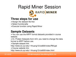 Rapid Miner Session