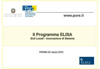 Il Programma ELISA Enti Locali – Innovazione di Sistema