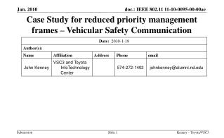 Case Study for reduced priority management frames – Vehicular Safety Communication