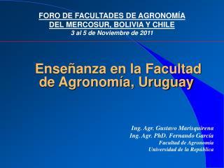 Enseñanza en la Facultad de Agronomía, Uruguay