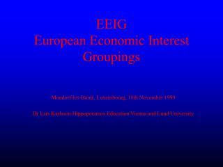 EEIG European Economic Interest Groupings