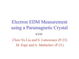 Electron EDM Measurement using a Paramagnetic Crystal