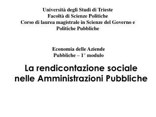 La rendicontazione sociale nelle Amministrazioni Pubbliche