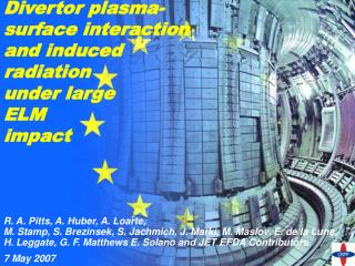 Divertor plasma-surface interaction and induced radiation under large  ELM impact