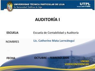 ESCUELA :           Escuela de Contabilidad y Auditoría
