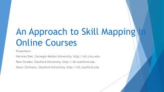 An Approach to Skill Mapping in Online Courses