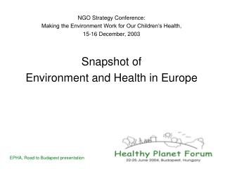 NGO Strategy Conference:  Making the Environment Work for Our Children�s Health,