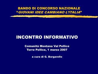 """BANDO DI CONCORSO NAZIONALE """" GIOVANI IDEE CAMBIANO L'ITALIA """""""