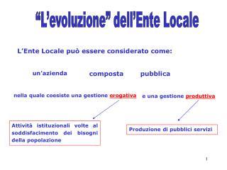 L'Ente Locale può essere considerato come: