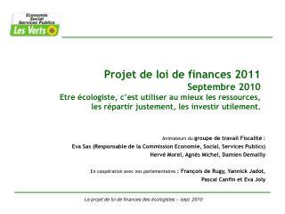 Le projet de loi de finances des écologistes – sept. 2010