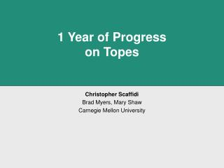 1 Year of Progress on Topes
