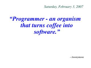 Saturday, February 3, 2007