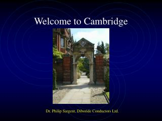 Welcome to Cambridge