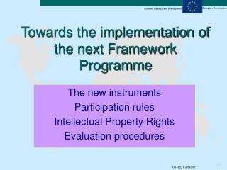 Towards the implementation of the next Framework Programme