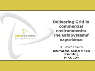 Delivering Grid in commercial environments:  The GridSystems� experience