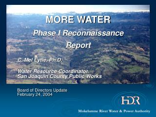 MORE WATER Phase I Reconnaissance Report