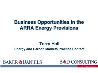 Business Opportunities in the  ARRA  Energy Provisions