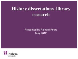 History dissertations–library research