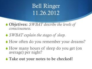 Bell Ringer 11.26.2012