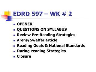 EDRD 597 – WK # 2