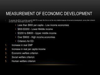 Measurement of Economic Development