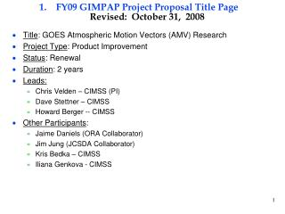 FY09 GIMPAP Project Proposal Title Page Revised:  October 31,  2008