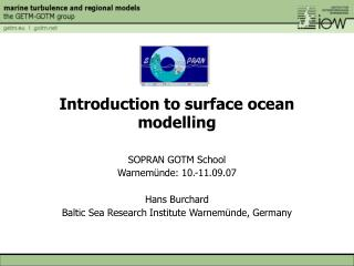 Introduction to surface ocean modelling