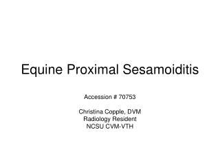 Equine Proximal Sesamoiditis