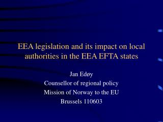 EEA legislation and its impact on local authorities in the EEA EFTA states