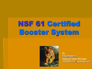 NSF 61  Certified Booster System