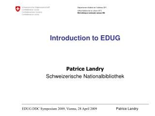 Introduction to EDUG