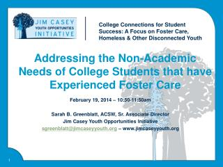 Addressing the Non-Academic Needs of College Students that have Experienced Foster Care