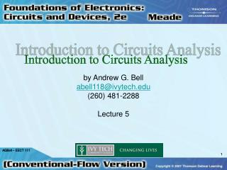 Introduction to Circuits Analysis