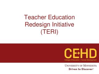 Teacher Education  Redesign Initiative (TERI)
