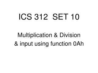 ICS 312  SET 10